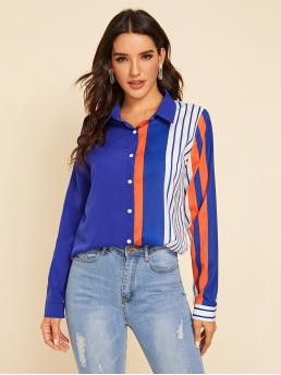 Casual Striped and Colorblock Shirt Regular Fit Collar Long Sleeve Regular Sleeve Placket Multicolor Regular Length Cut And Sew Striped Blouse