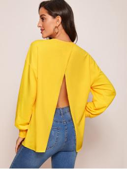 Sexy Pullovers Plain Regular Fit Round Neck Long Sleeve Regular Sleeve Yellow and Bright Longline Length Drop Shoulder Open Back Pullover