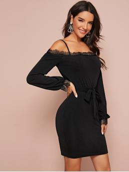 Elegant Bodycon Plain Pencil Regular Fit Spaghetti Strap Long Sleeve Bishop Sleeve High Waist Black Maxi Length and Short Length Lace Trim Cold Shoulder Belted Bodycon Dress