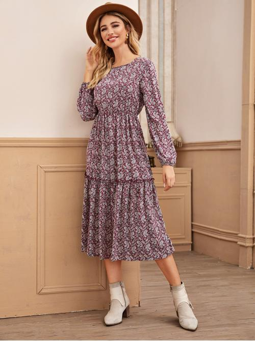Casual A Line Paisley and All Over Print Flounce Regular Fit Round Neck Long Sleeve Regular Sleeve High Waist Multicolor Long Length Allover Paisley Print A-Line Dress