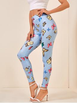 Casual Regular Animal Baby Blue Cropped Length Butterfly Print Leggings