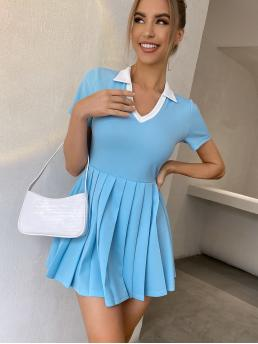 Blue Colorblock Pleated Collar Contrast Dress Trending now
