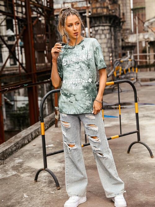 Short Sleeve Cotton Tie Dye Green Letter and Motorcycle Print Tee Sale