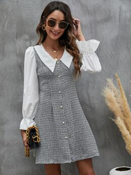 White Plaid Button Front Peter Pan Collar Dress on Sale