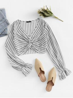 Boho Striped Top Regular Fit V neck Long Sleeve Flounce Sleeve Pullovers Grey Crop Length Twist Bell Sleeve Striped Top