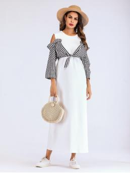 Casual Fitted Gingham Straight Regular Fit Round Neck Long Sleeve Regular Sleeve High Waist Black and White Maxi Length Open Shoulder Contrast Plaid Knot Dress