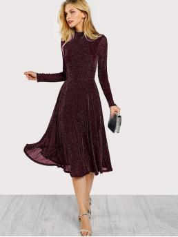 Burgundy Plain Drawstring Stand Collar Button Keyhole Mock-neck Glitter Flowy Dress Discount