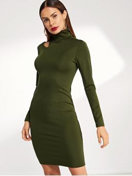 Army Green Plain Cut out High Neck Solid Dress Beautiful