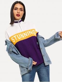 Sporty Letter and Colorblock Regular Fit Stand Collar Three Quarter Length Sleeve Half Placket Multicolor Regular Length O-Ring Half Placket Colorblock Letter Tee