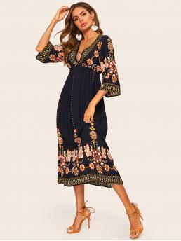 Boho A Line Floral and Tribal Flared Loose Deep V Neck Three Quarter Length Sleeve Regular Sleeve High Waist Navy Long Length Tribal Plunging Flare Dress