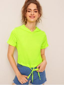 Sporty Plain Regular Fit Hooded Short Sleeve Pullovers Green and Bright Crop Length Neon Lime Drawstring Hem Side Stripe Hooded Tee