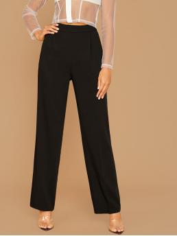 Elegant Plain Tailored Regular Zipper Fly High Waist Black Long Length High Waist Straight Leg Pants