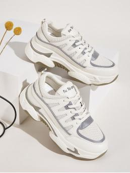 Comfort Round Toe Platform White Lace-up Front Chunky Trainers