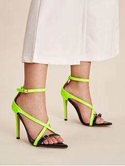 Glamorous Open Toe Ankle Strap Green and Bright High Heel Stiletto Two Tone Ankle Strap Stiletto Heels