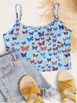 Boho Cami Animal and All Over Print Slim Fit Spaghetti Strap Baby Blue Crop Length Allover Butterfly Print Crop Cami Top