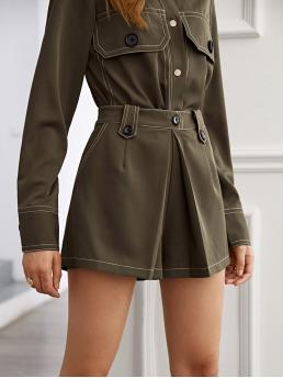 Casual Wide Leg Plain Loose Zipper Fly High Waist Army Green Contrast Piping Fold Pleated Shorts
