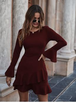 Cheap Maroon Plain Ruffle Hem Round Neck Solid Bell Sleeve Tiered Ruffled Mini Dress