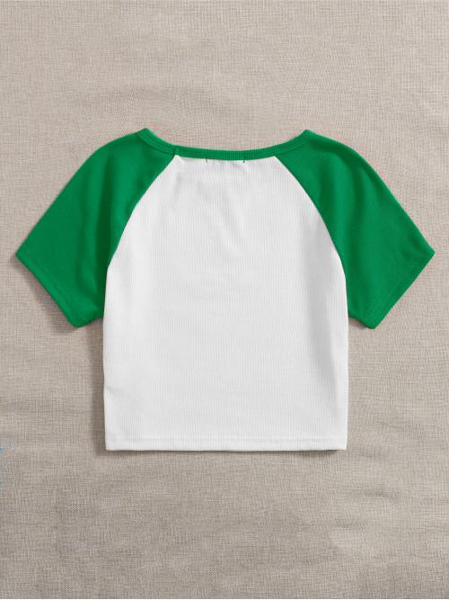 Short Sleeve Polyester Colorblock White Contrast Tee Cheap