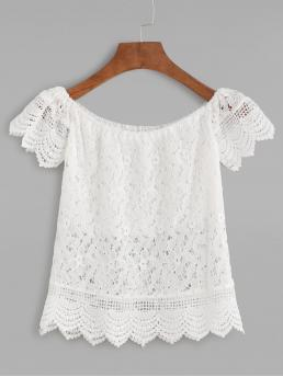 Boho Plain Top Slim Fit Boat Neck Cap Sleeve Pullovers White Crop Length Boat Neck Crochet Lace Scalloped Hollow Out Blouse