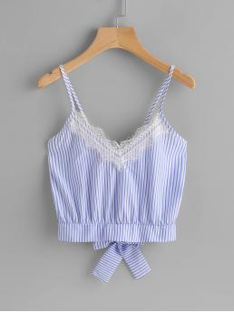 Casual Cami Striped Slim Fit Spaghetti Strap and V neck Blue Crop Length Vertical Striped Split Bow Tie Back Cami Top