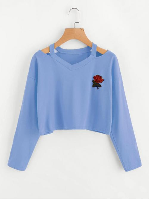 Casual Regular Fit V neck Long Sleeve Blue Crop Length Cut Out Neck Rose Patch Tee