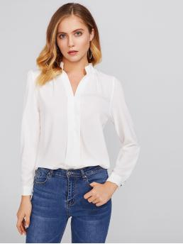 Basics Plain Top Regular Fit Stand Collar and V neck Long Sleeve White Stand Neck Pleated Detail Chiffon Shirt