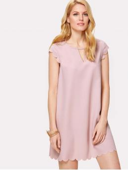 Casual Tunic Plain Straight Loose Keyhole Neckline Cap Sleeve Natural Pink and Pastel Short Length V Cut Scallop Edge Tunic Dress