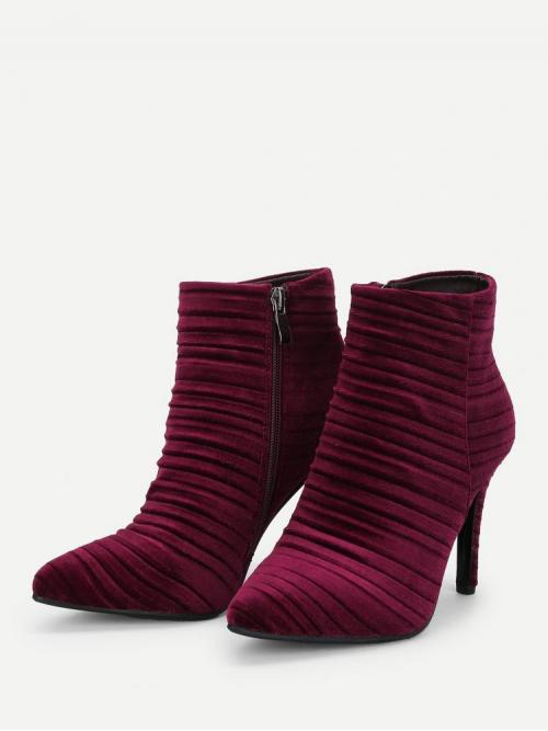Polyester Burgundy Stretch Boots Embroidery Ruched Clearance