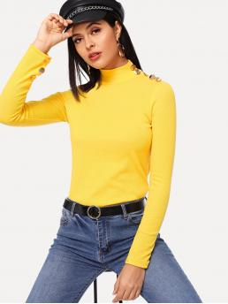 Elegant Plain Slim Fit Stand Collar Long Sleeve Pullovers Yellow and Bright Regular Length Button Detail Mock Neck Tee