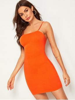 Sexy Cami Plain Slim Fit Spaghetti Strap Sleeveless Natural Orange and Bright Short Length Neon Orange Solid Bodycon Cami Dress