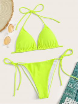 Sexy Sets Plain Triangle Halter Top and V neck Green and Bright Neon Lime Triangle Top With Tie Side Tanga Bikini