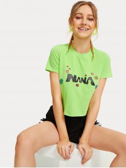Casual Letter and Floral Regular Fit Round Neck Short Sleeve Pullovers Green Crop Length Letter Print Tee