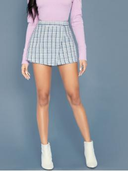 Casual Plaid Culottes Regular Zipper Fly Mid Waist Blue and Pastel Zipper Fly Tweed Wrap Skort
