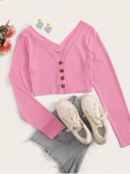 Casual Plain Regular Fit V neck Long Sleeve Regular Sleeve Placket Pink Crop Length Button Front Rib-Knit Crop Tee