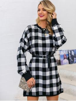 Casual Gingham Straight Loose Round Neck Long Sleeve Regular Sleeve Natural Black and White Short Length Glamaker Gingham Drop Shoulder Dress Without Belt