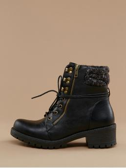 Comfort Hiking Boots Almond Toe Plain Side zipper Black Low Heel Chunky Lace Front Knitted Cuff Lug Sole Hiking Boots