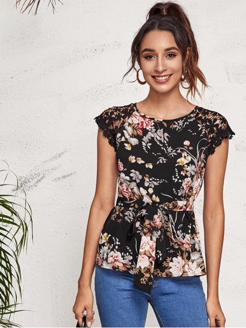 Beautiful Short Sleeve Top Button Polyester Guipure Lace Self Top