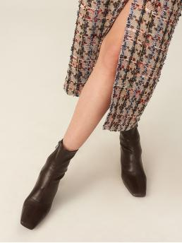 Women's Coffee Brown Stretch Boots Mid Heel Chunky Heeled Boots