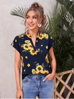 Ladies Short Sleeve Top Polyester Floral Sunflower Print Neck Blouse