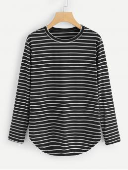Casual Striped Regular Fit Round Neck Long Sleeve Regular Sleeve Pullovers Black Regular Length Elbow Patch Striped T-shirt