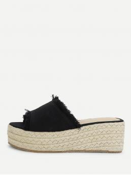 Mules Open Toe Flatform Black Espadrilles Raw Trim Criss Cross Flatform Sandals