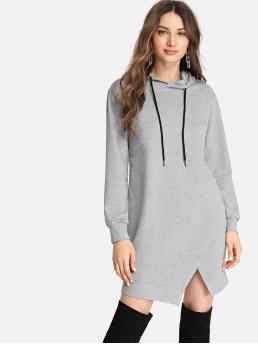 Womens Grey Plain Drawstring Hooded Split