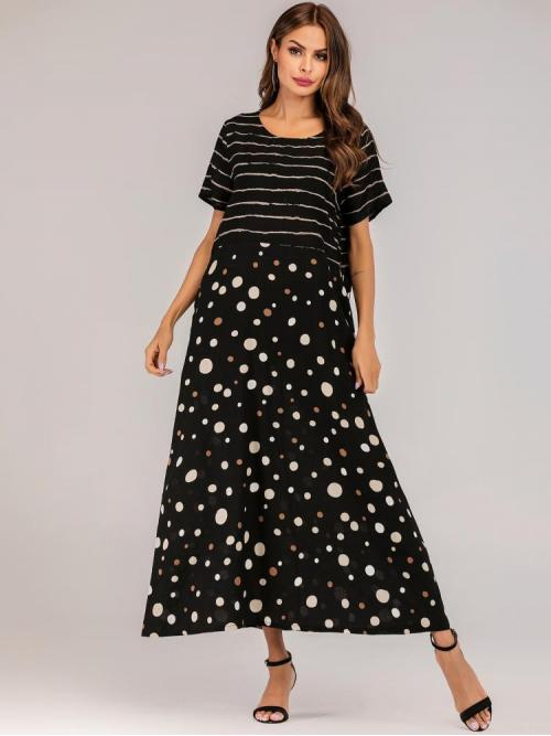 Black Polka Dot Contrast Lace Round Neck Stripe & Dot Pattern Dress Sale