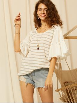 Casual Striped Asymmetrical Top Oversized Scoop Neck Half Sleeve Flounce Sleeve Pullovers Multicolor Regular Length SBetro Exaggerated Ruffle Sleeve Striped Top