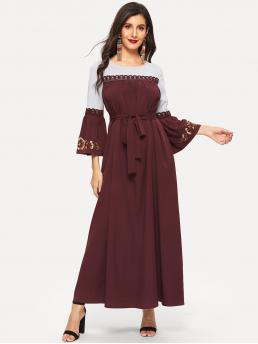 Modest Tunic Flared Loose Round Neck Long Sleeve Flounce Sleeve High Waist Burgundy Maxi Length Lace Applique Embroidered Bell Sleeve Two Tone Dress with Belt
