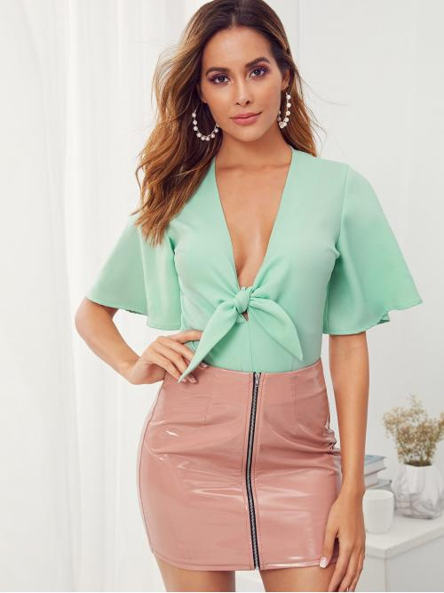 Sexy Shirt Plain Regular Deep V Neck Short Sleeve Flounce Sleeve Mid Waist Green and Pastel Plunging Neck Tie Front Two Tone Bodysuit