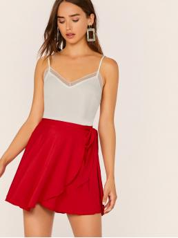 Boho Wrap Plain Shift Mid Waist Red and Bright Above Knee/Short Length Solid Wrap Tie Waist Skirt