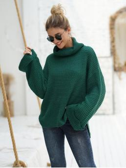 Discount Long Sleeve Pullovers Acrylic Plain Waffle Knit Sweater