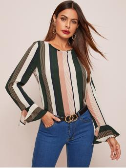 Casual Striped Top Regular Fit Round Neck Long Sleeve Flounce Sleeve Pullovers Multicolor Regular Length Ruffle Cuff Striped Top