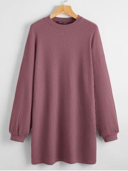 Affordable Maroon Plain Round Neck Short Solid Waffle Knit Dress